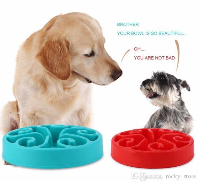 Dog Slow Feeder Bowls Anti Choke Pet Food Water Bowl Puppy Slow Down Eating Dish Drinking Bowl Green Red Blue Purple