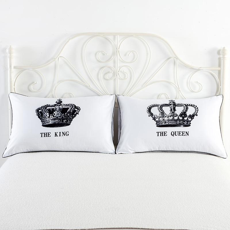 acheter royal crown taies d oreiller queen king design taie d oreiller usa queen size decorative couple shams set de 26 9 du bananain dhgate com