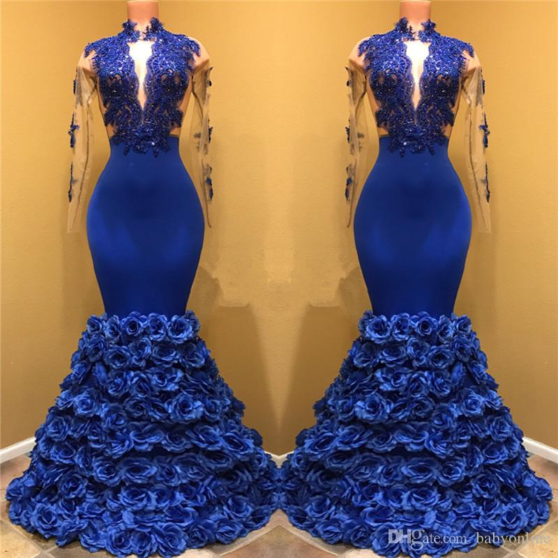 Royal Blue Rose Flowers Bottom Prom Dresses 2019 Mermaid Sheer Long Sleeve Lace Appliques