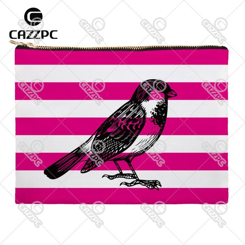3c0217986a 2018 Rose Pink Blue Stripe Bird Owl Parrot Canvas Pattern Print. Red Parrot  Makeup Bag