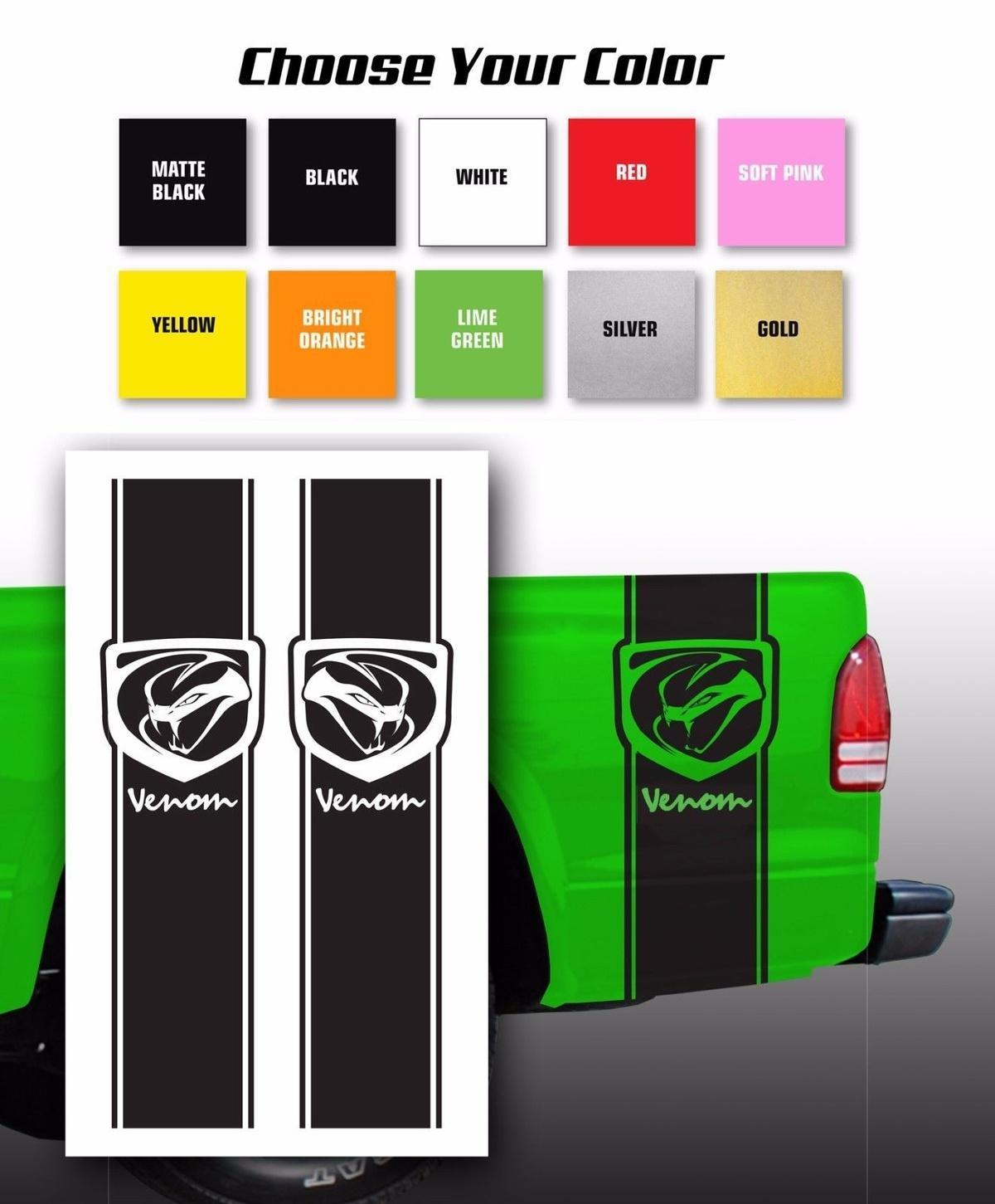 acheter pour les autocollants de decalque de lit de camion de ramassage de venin dodge choisissez la couleur de 10 05 du redchinatown dhgate com