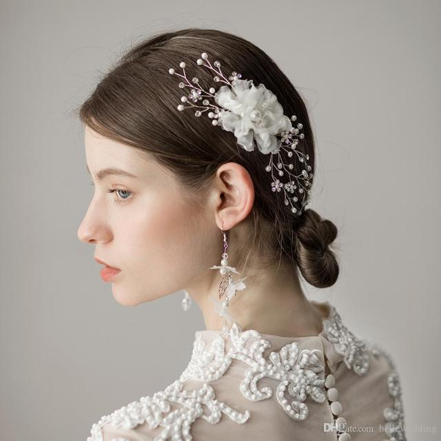 2018 new bridal headpieces hair comb with pearls rhinestones flowers women hair jewelry hair accessories for brides bw-hp383