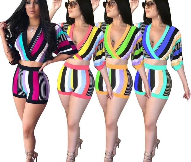Xl Pretty And Sexy Girls Two Piece Short Pantsfashion Street And Beach Summer Wear Sets  Length Sleevenice V Neck From Asymee
