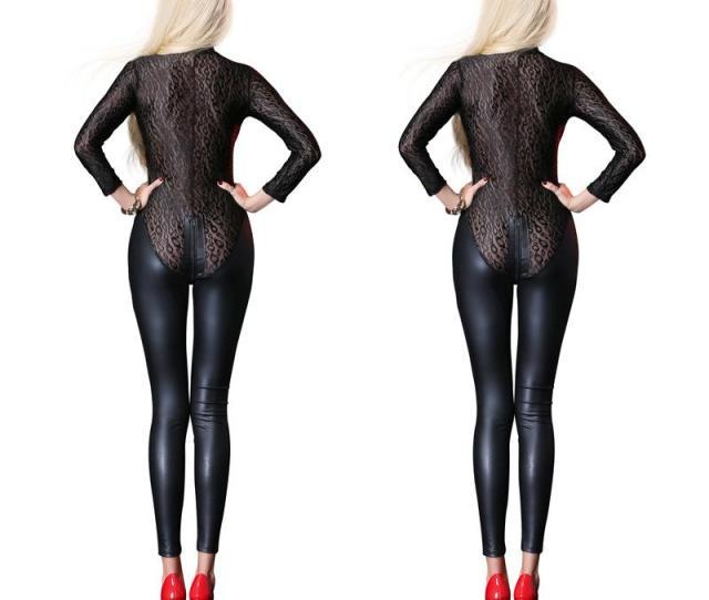 Sexy Black Mesh Jumpsuit Catsuit Latex Faux Leather Bodysuit Zipper Open Crotch Pvc Leotard Overalls Fetish Gothic Costumes Zentai Cheap Zentai Sexy Black