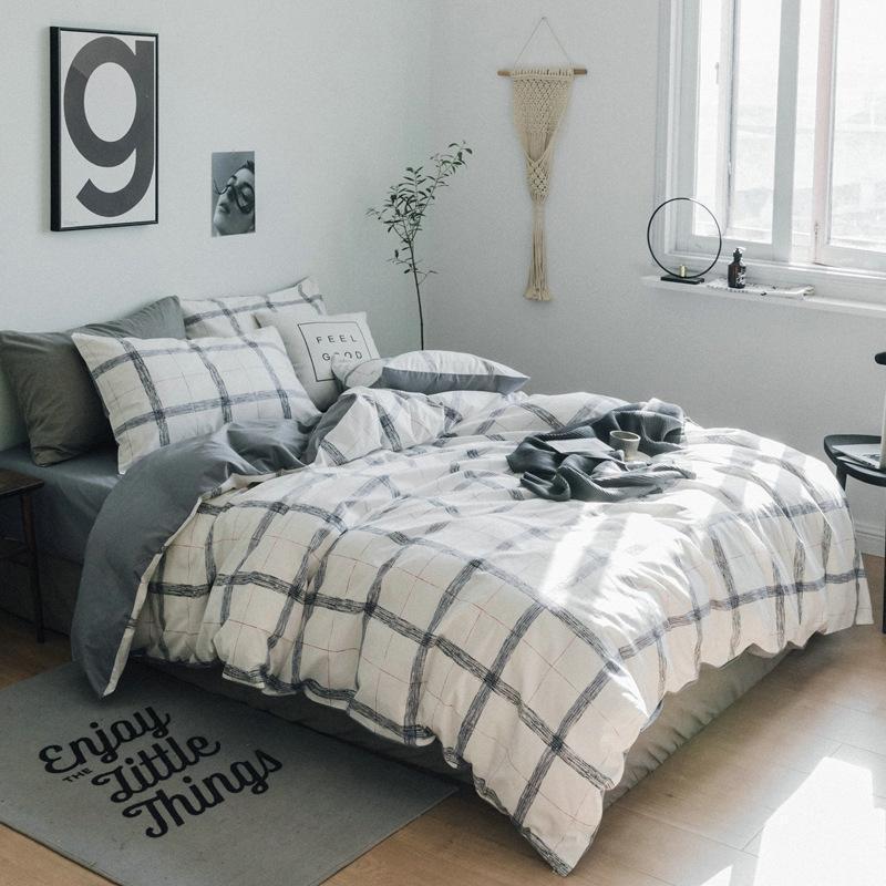 acheter ensemble de literie couette a carreaux gris drap housse de couette ensemble de lit 100 coton bedlinen twin queen complete roupa de cama de