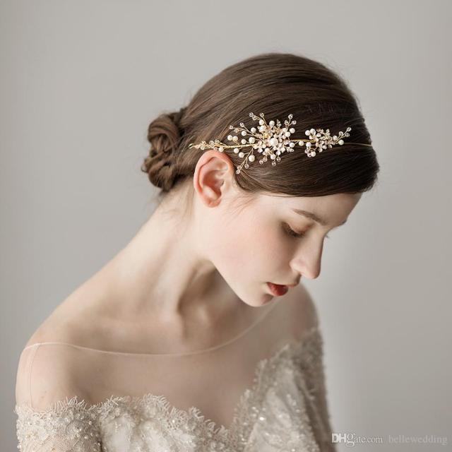new bridal headbands with pearls rhinestones elegant women hair jewelry simple design wedding headpieces bridal accessories bw-hp344