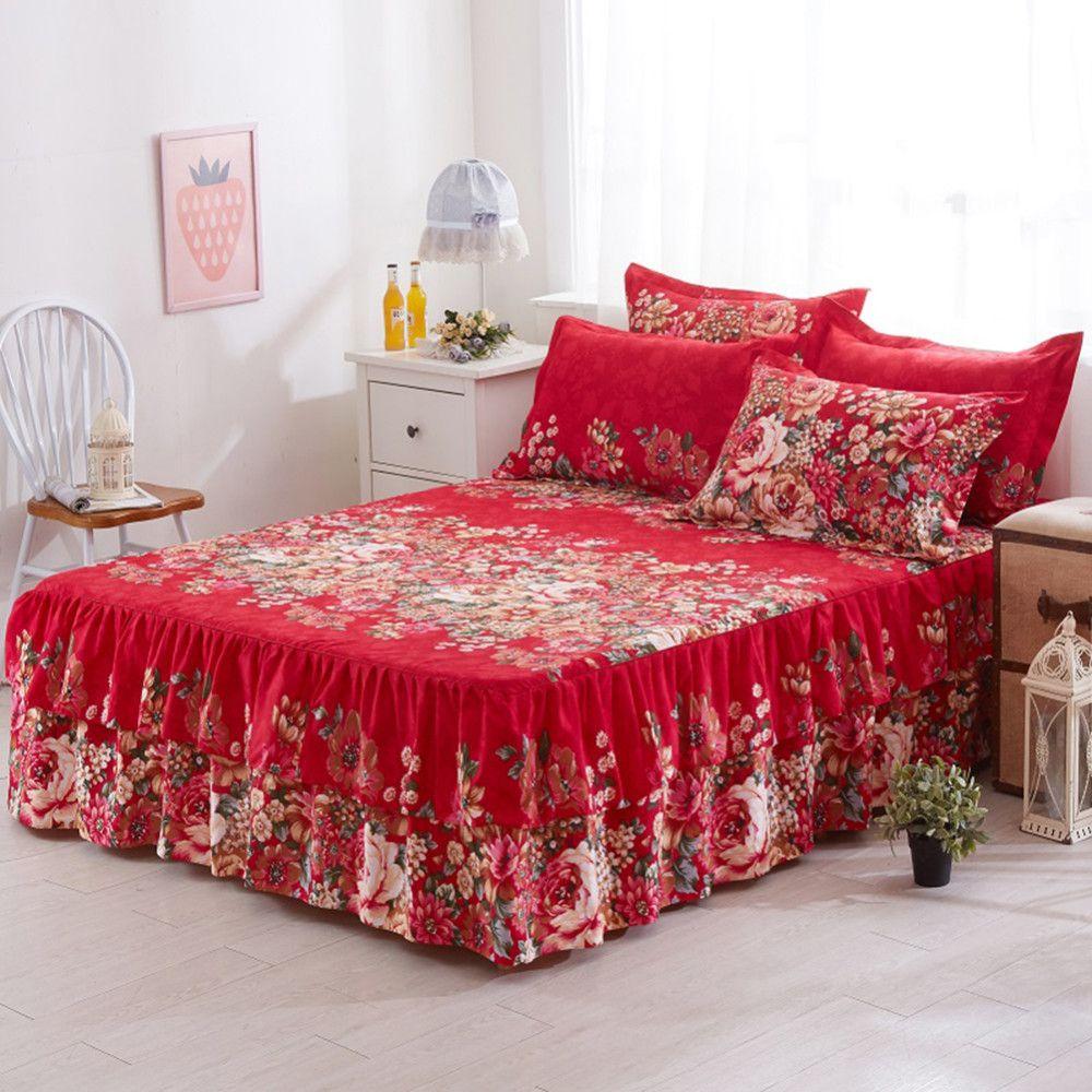 acheter 150x200cm floral ajuste drap couverture gracieuse couvre lit dentelle drap ajuste chambre lit couverture de lit jupe de mariage cremaillere29 de