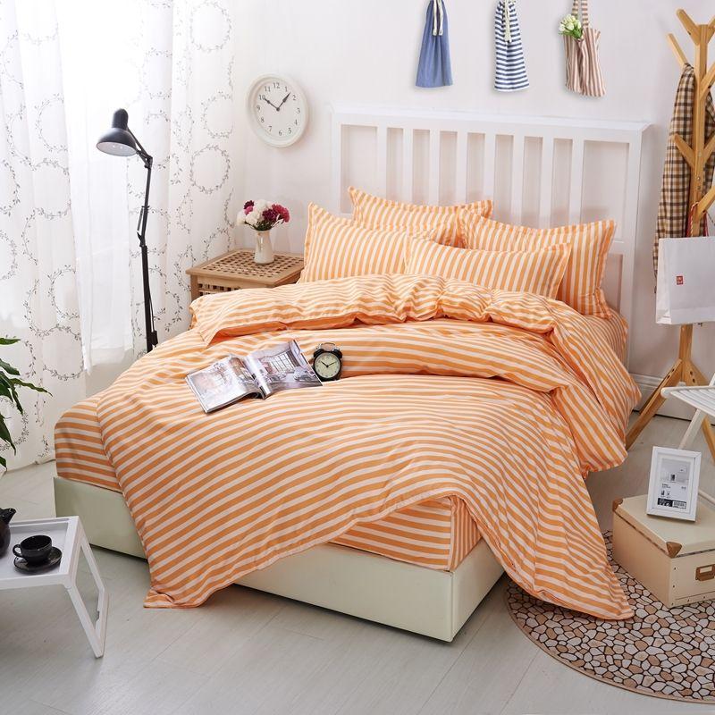 acheter ensemble de literie nordic orange raye confortable polyester ensembles de lit king queen taille drap couvre lit couvre couette taie d oreiller de