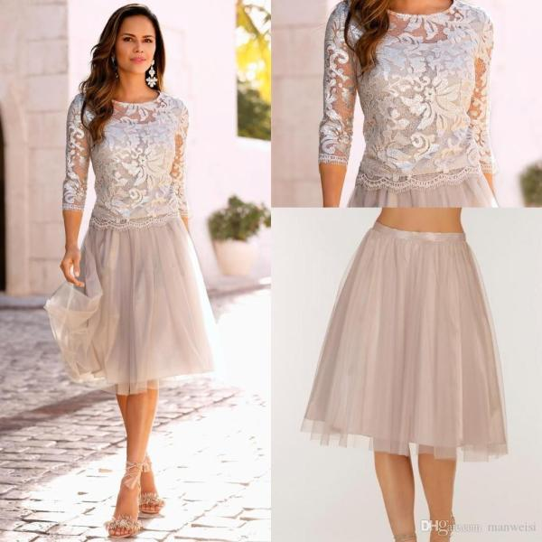 2018 Elegant Boho Mother Of The Bride Dresses Lace Tulle Knee Length     2018 Elegant Boho Mother Of The Bride Dresses Lace Tulle Knee Length 3 4  Long Sleeves Wedding Guest Dress Short Evening Gowns Dress For Mother Of  The Groom