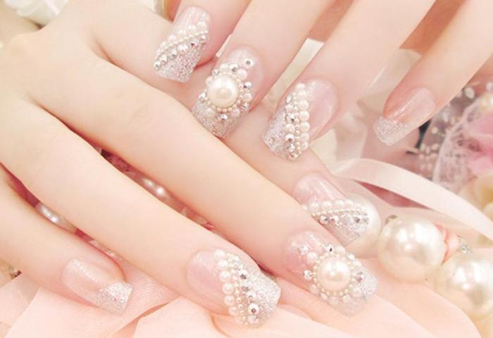 Compre 24 Piezas Estilo Francés Perlas Uñas Postizas Novia Blanca