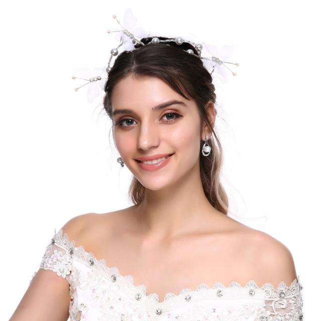 bridal hair vine ribbon headband butterfly crystals pearl wedding headbands for bridesmaid and flowergirls hair accessories