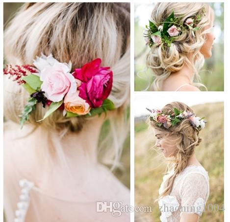 2019 designer flower headband hair wreath wedding hair accessories flower tiaras bridal wreaths garland boho crowns for women beach head pieces from