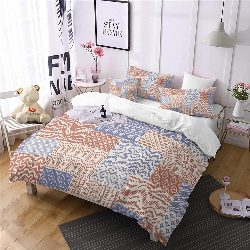 acheter ethnic jaune couette ensembles ensembles bleu housse de couette ensemble reine plaid king size literie ensemble 3d maison textile linge de lit de