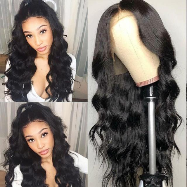 top quality full lace black body wave hair glueless synthetic lace front wigs for women heat resistant middle parting wigs with baby hair
