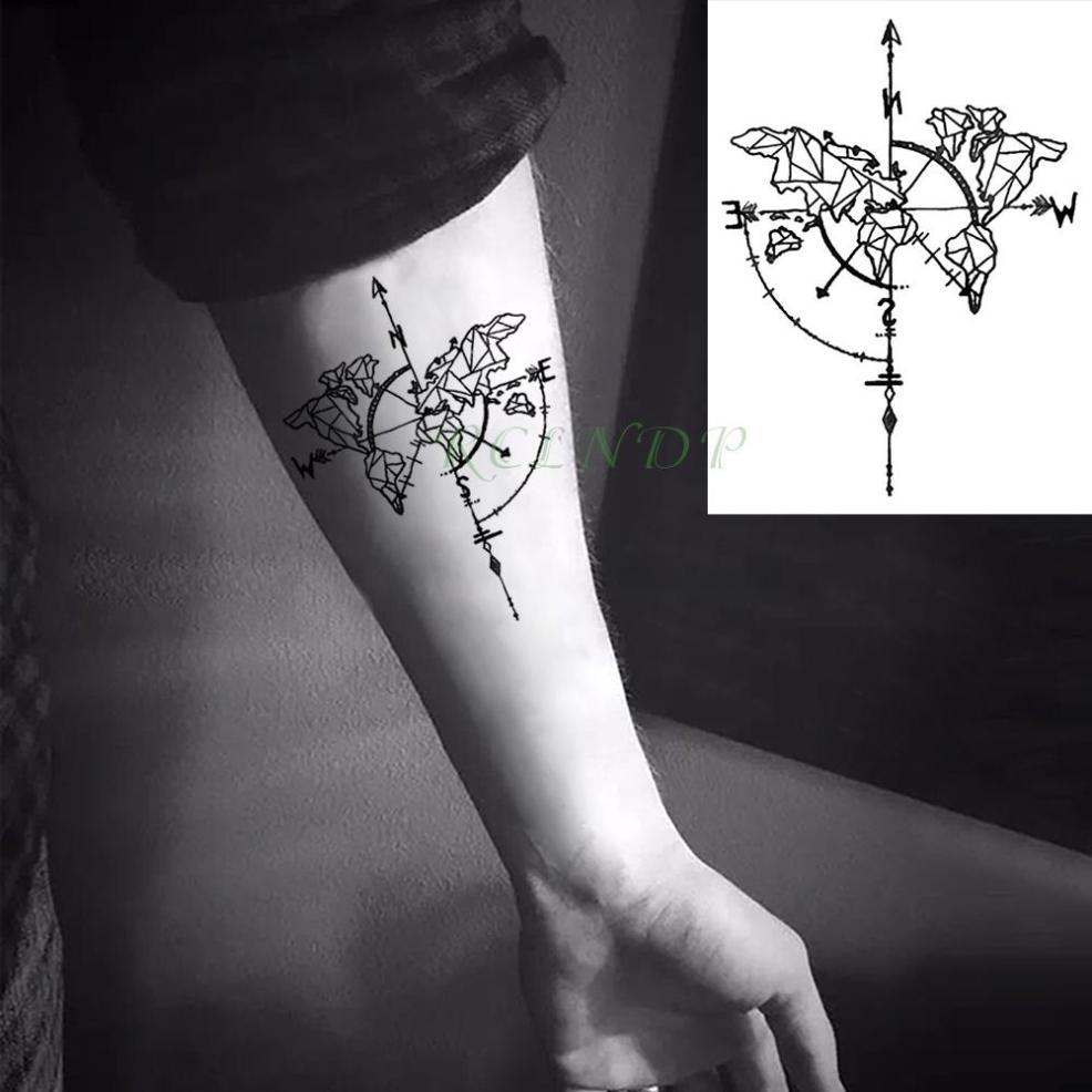 водонепроницаемый временные татуировки лиса волк волки кит сова геометрические