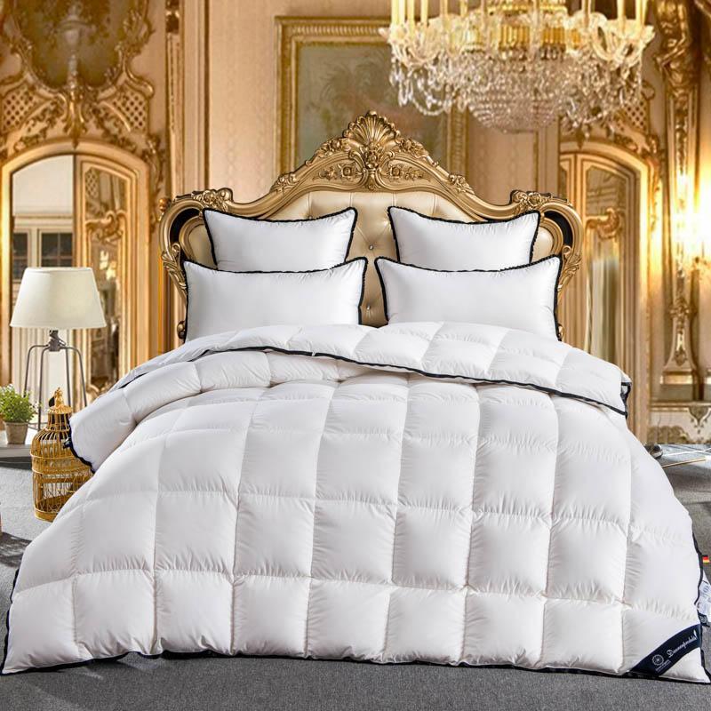 acheter 2018 roi reine taille double 100 duvet d oie blanc couette ensemble de literie couvre lit couette couverture lit edredon edredon colcha de 121 01