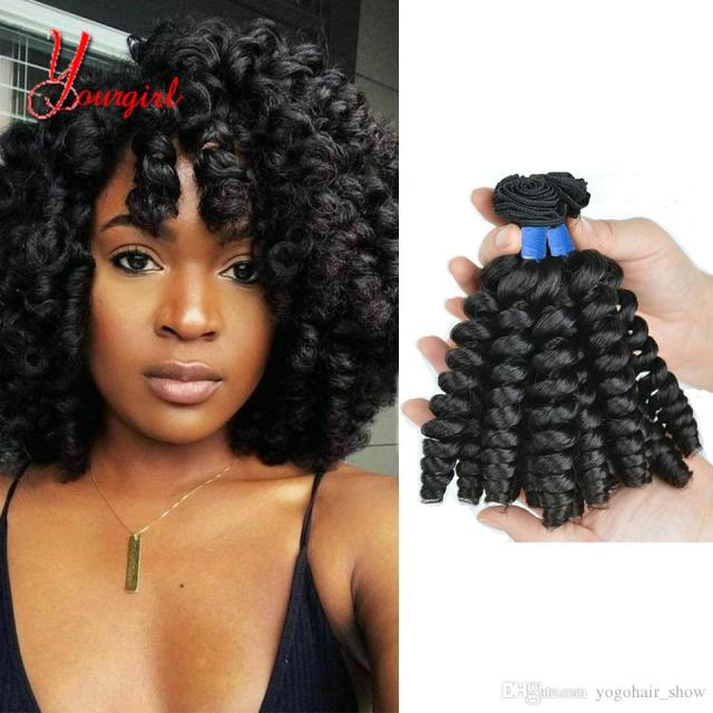 brazilian 100% human hair fashion curly funmi hair weave bundles 3 pieces 8-28 inches unprocessed natural color machine double weft