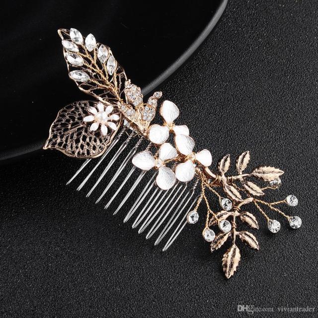 bride hair comb handmade hair decoration wedding garment high-end jewelry retro golden headdress