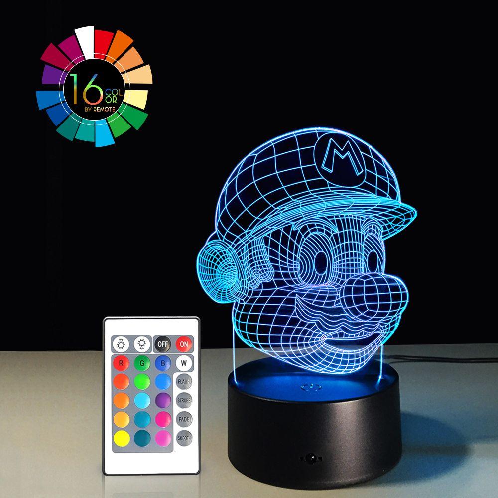 acheter 40 piece 3d optical illusion night light 7 led changement de couleur de lampe cool soft light safe pour les enfants solution pour les cauchemars