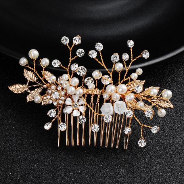 newest gold color flowers bridal hair combs clips hairpins wedding hair accessories jewelry blossom headpiece jch199