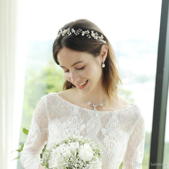 wedding bridal hair accessories bohemian handmade crystal rhinestones charms pearl flower halo designer headband for women 2019