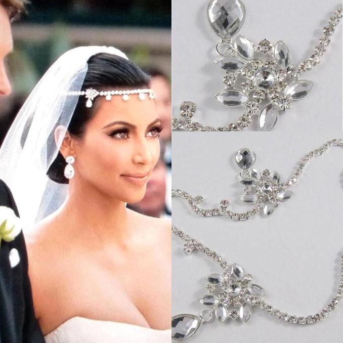 new kim kardashian real images water drop pendants crystal bridal wedding hair piece accessories jewelry tiara cpa318