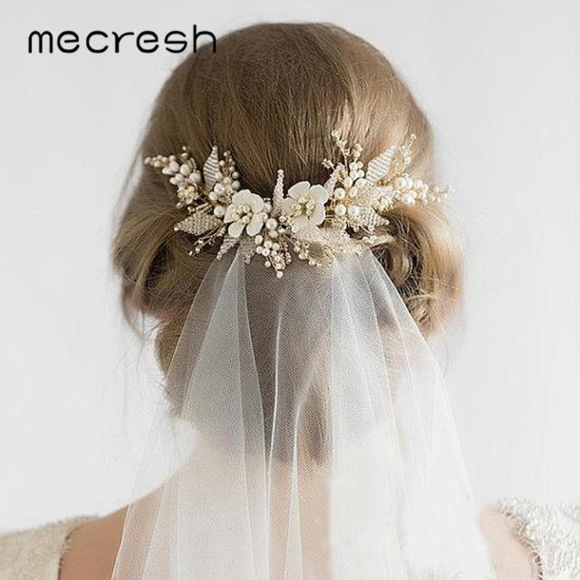mecresh floral beads bridal hair combs wedding hair accessories for girls rhinestone comb princess hairpieces jewelry fs182