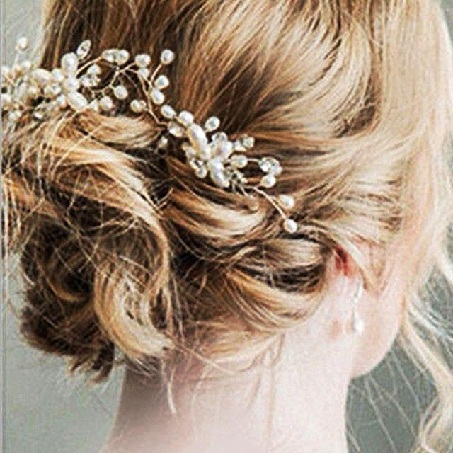 2018 new bridal wedding pearl beaded hair pins crystal hair clips flower hairpins stick women wedding jewelry
