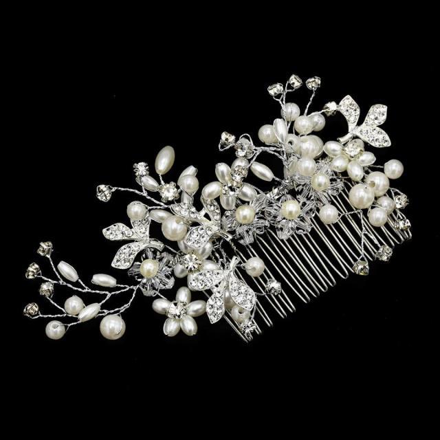 classic bride crystals rhinestone big bridal wedding headbands pears hair combs women pageant hair jewelry headpiece accessories