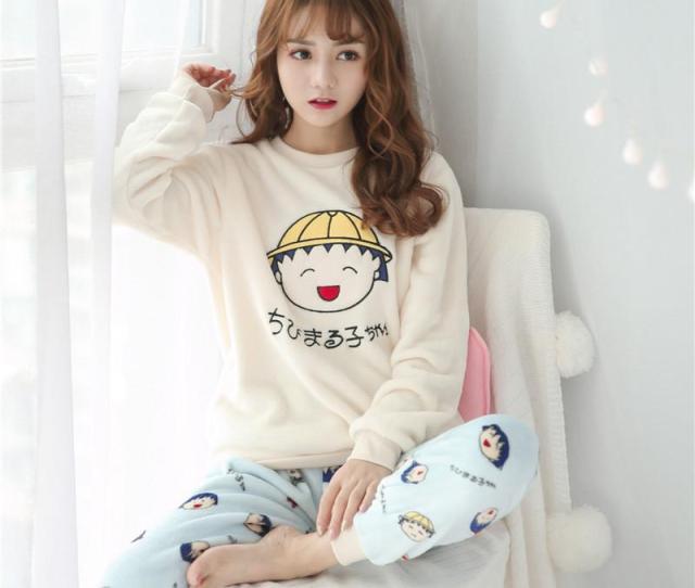 Warm Flannel Pajamas For Women Girl Gift Thicken Pajama Christmas Women Winter Long Sleepwear Pant Home Wear Pajama Sets Cheap Pajama Sets Warm Flannel