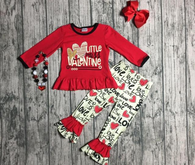 Letter Little Miss Valentines Day Baby Girls Clothes Spring Outfits Cotton Boutique Ruffles Love Heart Pant Match Accessories From Henryk