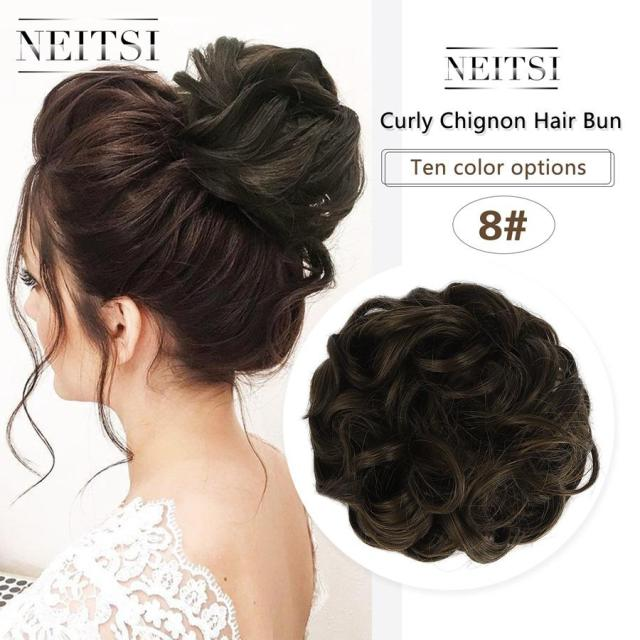 neitsi women curly chignon hair bun for brides synthetic high extensions ponytail hair bundles hairpieces buns 8#