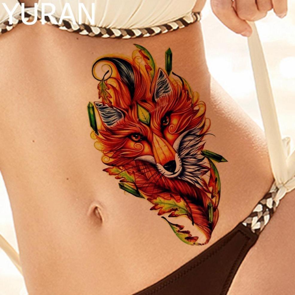 акварель сексуальный племенной лиса временные татуировки наклейки женщины талии