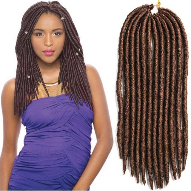 18inch 24roots soft dreadlocks crochet braids kanekalon jumbo dread hairstyle ombre synthetic faux locs braiding hair extensions