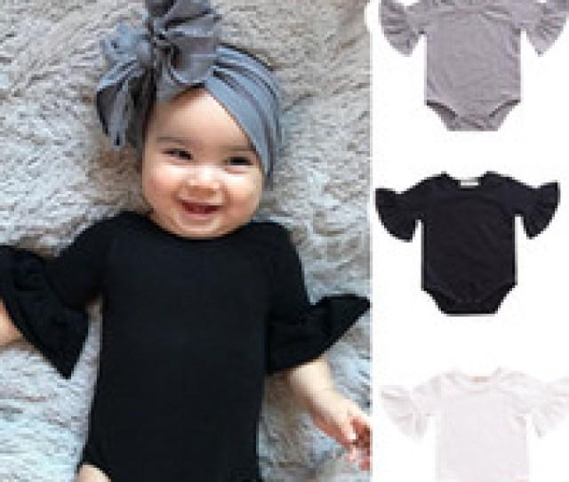 Wholesale Ruffle Girl Boutique Clothing Online Baby Girls Boys Flare Sleeve Romper Infant Ruffle Sleeves