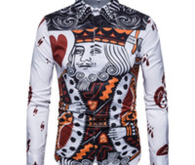 Wholesale Play Breast Online  Hot Sales New Men Shirt D Playing Card Prints Turn