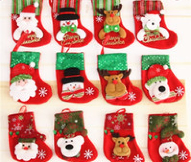 Wholesale Small Christmas Stockings Wholesale For Sale Christmas Stocking Gift Bags Cloth Christmas Tree Santa