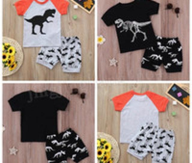 Wholesale Kids Boutique Clothing Online  Colors Baby Boys Dinosaur Print Outfits Children Stripe Top