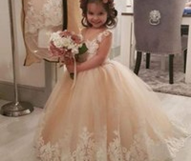 Wholesale Hot Necked Girls Images For Sale Hot Sale Lace Ball Gown Beaded Flower Girl