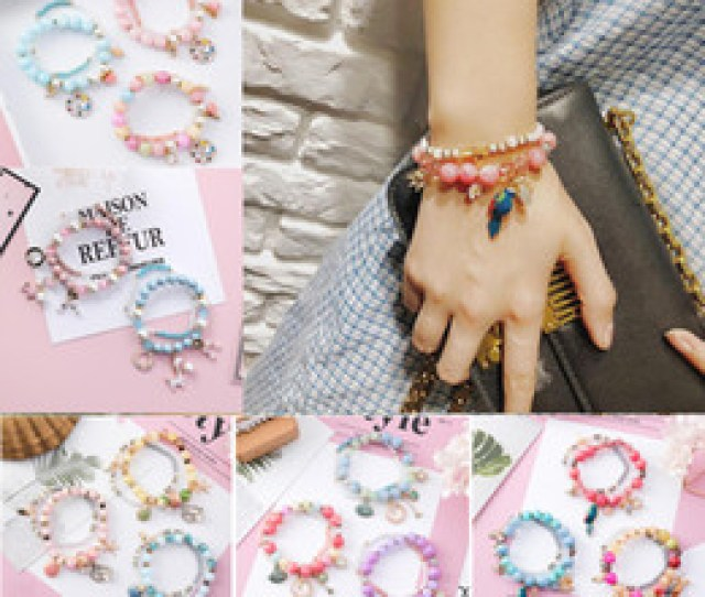 Crystal Candy Charms Promo Codes Bohemia Starfish Shells Charm Bracelet Candy Colors Crystal Beads Bracelets