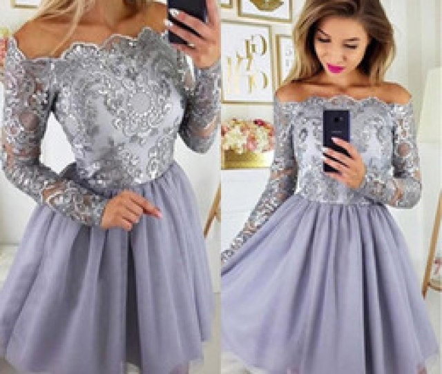 Little Sexy Teens 2019 2019 Long Sleeves Lilac Lavender Short Homecoming Dresses Appliques Chiffon Skirt