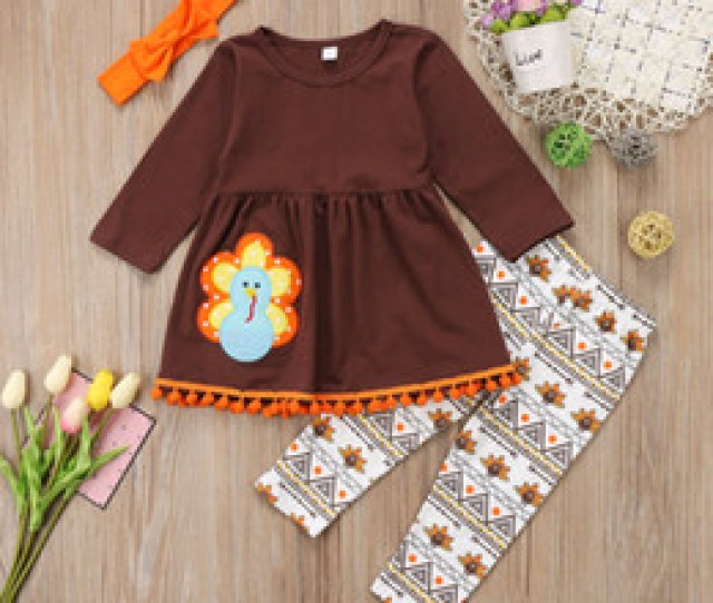 Discount Toddler Girl Dresses Boutique Kids Girl Clothes Outfit Thanksgiving T Shirt Top