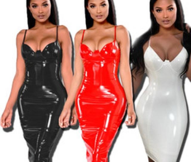Knee Length Dress Pu Leather Bustier Pencil Celebrity Bodycon Party Dress Sexy V Neck Vestido Kim Kardashian Pu Pvc Dress