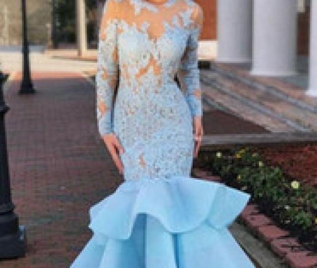 Hot Teens Dresses Uk 2019 Hot Mermaid Long Prom Dress With Full Sleeves Blue Lace