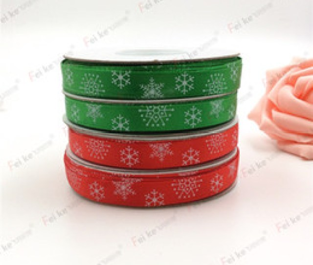 Photos China New Red Green Christmas Ribbon Printed Snowflake Grosgrain Ribbon For Home Decoration Cm Wide Meter