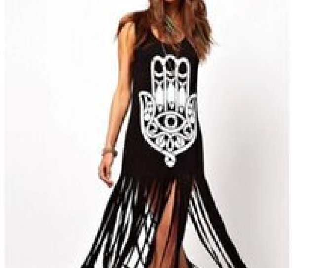 Sexy Indians Women Canada Women Plus Size Print Tassel Sleeveless Vest Dress Vestidos Ankle Length