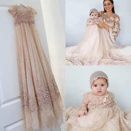 Wholesale First Communion Dresses in Kids Formal Wear   Buy Cheap     Wholesale Bling Bling Champagne Baby Christening Gowns Full Sequins Baptism  Outfits Bead Formal Infant Girl Wear