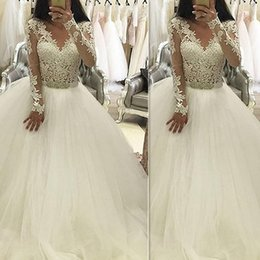 Imported Lace Wedding Gowns Online Shopping   Imported Lace Wedding     Vintage Lace Ball Gown Wedding Dresses Tulle 2017 Long Sleeved V Neck  Custom Made Bridal Gowns Vestidos De Novia Imported China