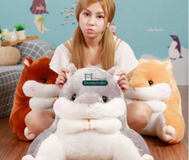 Dorimytrader Lovely 50cm X 55cm Soft Cartoon Hamster Plush Pillow Anime Waist Cushion Stuffed Animal Hamster Toy Doll Dy61720
