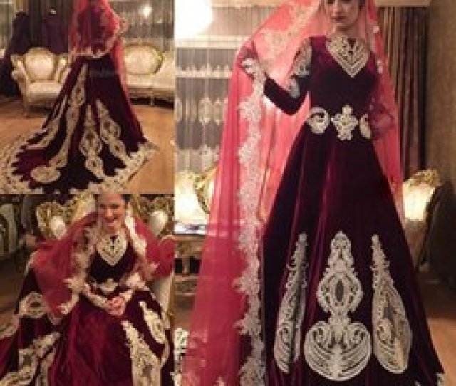 Images Sexy Indians Wedding Dress 2019 Vintage Burdundy Velvet Dress Muslim Wedding Gown Long Sleeves